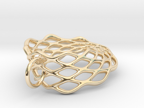 Mobius Mesh - Pendant in Metal in 14k Gold Plated Brass