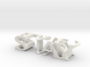 3dWordFlip: STAY/BLADED in White Natural Versatile Plastic