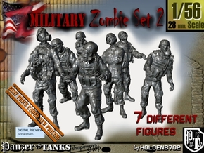 1-56 Seven Military Zombies Set2 in Smooth Fine Detail Plastic