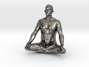 meditation pose male in Polished Nickel Steel