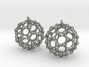 BuckyBall C60 Earring, Silver, 1.7cm. 2 Pieces. in Natural Silver