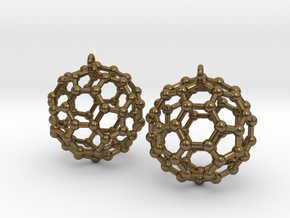 BuckyBall C60 Earring, Silver, 1.7cm. 2 Pieces. in Natural Bronze