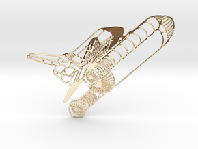 Challenger Space Shuttle in 14k Gold Plated Brass