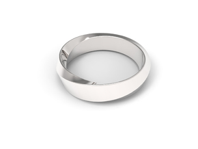 Mobius Wide Ring (Size 10) in Rhodium Plated Brass