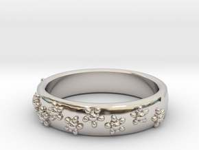 Flower Band in Rhodium Plated Brass