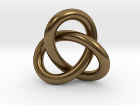 Robust Large Trefoil Knot Pendant in Natural Bronze
