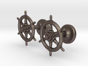 Ships Wheel cufflinks in Polished Bronzed Silver Steel