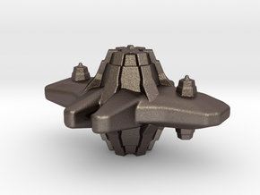 Cravic/Pralor Ship 1/10000 Attack Wing in Polished Bronzed Silver Steel