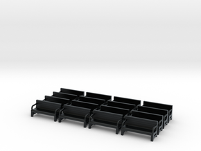 Bench type A - N ( 1:160 scale )16 Pcs set  in Black Hi-Def Acrylate