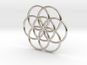 Flower of Life Seed Pendant Small in Rhodium Plated Brass
