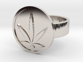 Cannabis Ring in Rhodium Plated Brass: 10 / 61.5