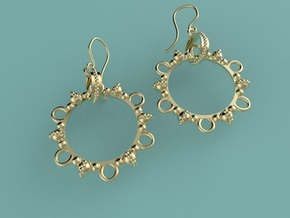 Melancholia Earrings in Interlocking Polished Brass