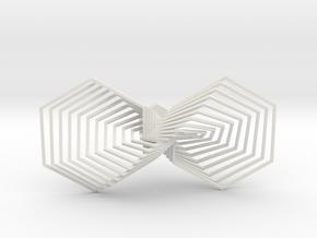 Hexagon Line Bowtie in White Natural Versatile Plastic