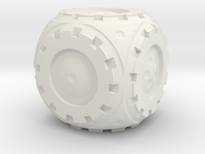 Gear Roller D6 in White Natural Versatile Plastic