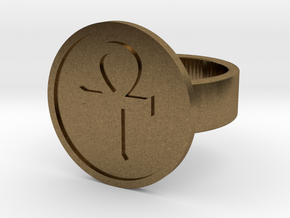 Ankh Ring in Natural Bronze: 8 / 56.75