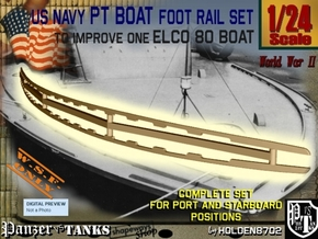 1-24 Elco 80 Foot Rail For PT Boat in White Natural Versatile Plastic