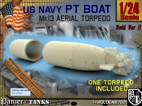 1-24 Torpedo Mk13 For PT Boat Set1 in White Processed Versatile Plastic