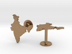 India Cufflinks in Natural Brass