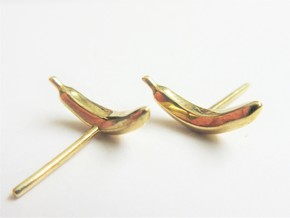 Fruity Fresh Banana Earrings in Polished Brass