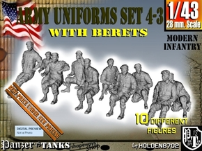1-43 Army Modern Uniforms BERETS Set 4-3 in Frosted Ultra Detail