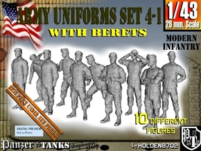 1-43 Army Modern Uniforms BERETS Set 4-1 in Smooth Fine Detail Plastic