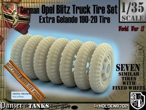 1-35 Opel Blitz Tire 190x20 FUD Set2 in Smooth Fine Detail Plastic