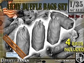 1-35 Army Duffle Bags Set1 in Smooth Fine Detail Plastic