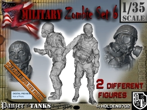 1-35 Military Zombie Set 6 in Smooth Fine Detail Plastic