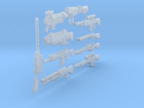 54mm Dark Future weapons in Smoothest Fine Detail Plastic