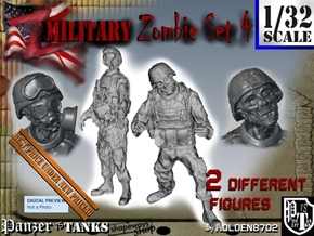 1-32 Military Zombie Set 4 in Smooth Fine Detail Plastic