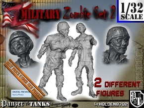 1-32 Military Zombie Set 2 in Smooth Fine Detail Plastic