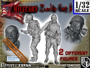 1-32 Military Zombie Set 6 in Smooth Fine Detail Plastic