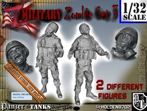 1-32 Military Zombie Set 3 in Smooth Fine Detail Plastic