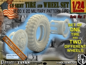 1-24 Tire+rims 1200x20 in Smooth Fine Detail Plastic