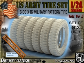 1-24 SIX UNITS Tire 600x16 in Smooth Fine Detail Plastic