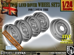 1-24 Land Rover 750x16 Wheels Set3 in Smooth Fine Detail Plastic