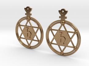The Saturn (precious metal earrings) in Natural Brass