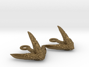 Anchor Octopus texture Earrings in Natural Bronze