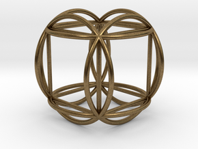 """Hexasphere w/nested Hexahedron 1.8"""" (no bale) in Natural Bronze"""