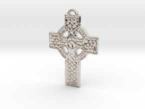 Roped Celtic Cross in Rhodium Plated Brass: Large