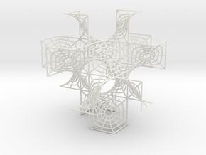 """D"" Surface Tetrahedron in White Natural Versatile Plastic"