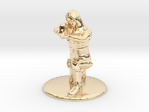 SG Female Soldier Crouched 35 mm new in 14k Gold Plated Brass