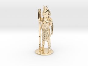Jackal Guard at Attention 35 mm new in 14k Gold Plated Brass