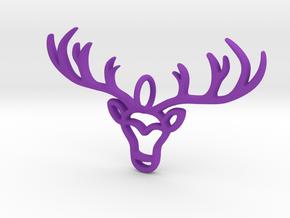 Deer Pendant in Purple Processed Versatile Plastic