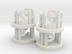 Alpha Bishops in White Natural Versatile Plastic