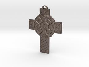 Celtic Cross Shield in Polished Bronzed Silver Steel: Medium