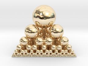 Spheres Sierpinski Tetrahedron in 14k Gold Plated Brass