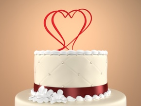 Two Hearts Merged Cake Topper  in Red Processed Versatile Plastic