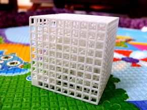 Maze 00, 5x5x5, 'Cube 0' in White Natural Versatile Plastic: Medium