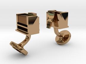 RJ45 Ethernet Cufflinks in Polished Brass